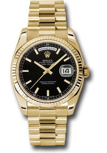 Rolex Watches - Day-Date President Yellow Gold - Fluted Bezel - President - Style No: 118238 bksp