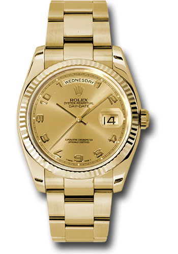 Rolex Watches - Day-Date President Yellow Gold - Fluted Bezel - Oyster - Style No: 118238 chao
