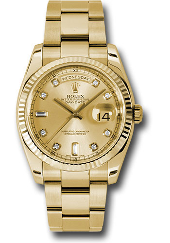 Rolex Watches - Day-Date 36 Yellow Gold - Fluted Bezel - Oyster - Style No: 118238 chdo