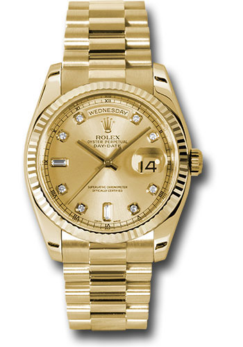 Rolex Watches - Day-Date President Yellow Gold - Fluted Bezel - President - Style No: 118238 chdp