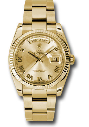 Rolex Watches - Day-Date President Yellow Gold - Fluted Bezel - Oyster - Style No: 118238 chro