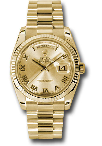 Rolex Watches - Day-Date President Yellow Gold - Fluted Bezel - President - Style No: 118238 chrp
