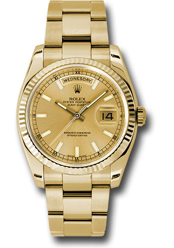 Rolex Watches - Day-Date President Yellow Gold - Fluted Bezel - Oyster - Style No: 118238 chso