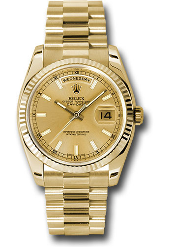 Rolex Watches - Day-Date President Yellow Gold - Fluted Bezel - President - Style No: 118238 chsp
