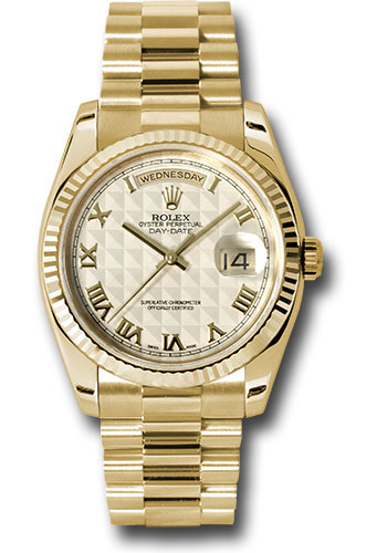 Rolex Watches - Day-Date President Yellow Gold - Fluted Bezel - President - Style No: 118238 iprp
