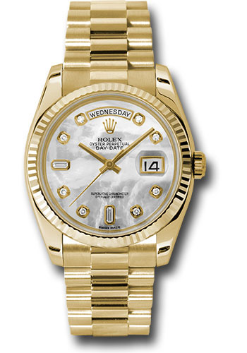 Rolex Watches - Day-Date President Yellow Gold - Fluted Bezel - President - Style No: 118238 mdp