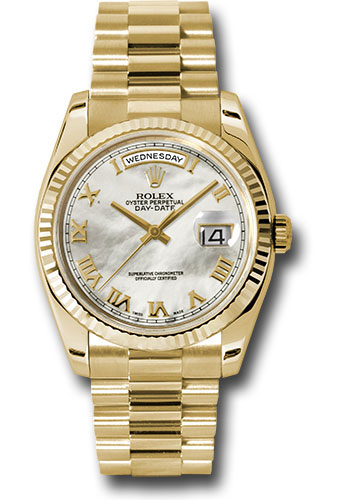 Rolex Watches - Day-Date President Yellow Gold - Fluted Bezel - President - Style No: 118238 mrp