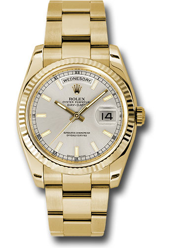 Rolex Watches - Day-Date President Yellow Gold - Fluted Bezel - Oyster - Style No: 118238 sio