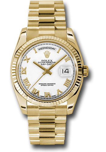 Rolex Watches - Day-Date President Yellow Gold - Fluted Bezel - President - Style No: 118238 wrp