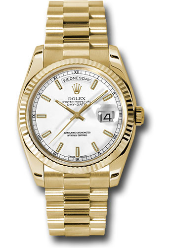 Rolex Watches - Day-Date President Yellow Gold - Fluted Bezel - President - Style No: 118238 wsp