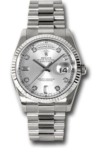 Rolex Watches - Day-Date President White Gold - Fluted Bezel - President - Style No: 118239 sdp