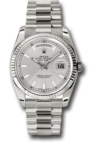 Rolex Watches - Day-Date President White Gold - Fluted Bezel - President - Style No: 118239 ssp