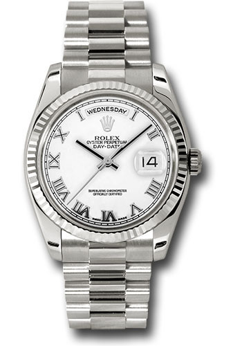 Rolex Watches - Day-Date President White Gold - Fluted Bezel - President - Style No: 118239 wrp