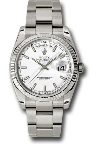 Rolex Watches - Day-Date President White Gold - Fluted Bezel - Oyster - Style No: 118239 wso