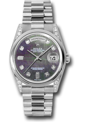 Rolex Watches - Day-Date President Platinum - Domed Bezel - Dia Lugs - President - Style No: 118296 dkmdp