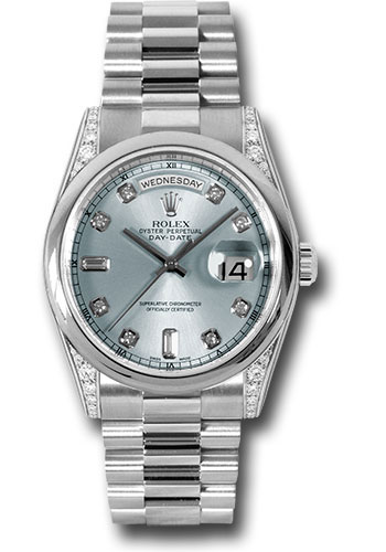 Rolex Watches - Day-Date President Platinum - Domed Bezel - Dia Lugs - President - Style No: 118296 gladp