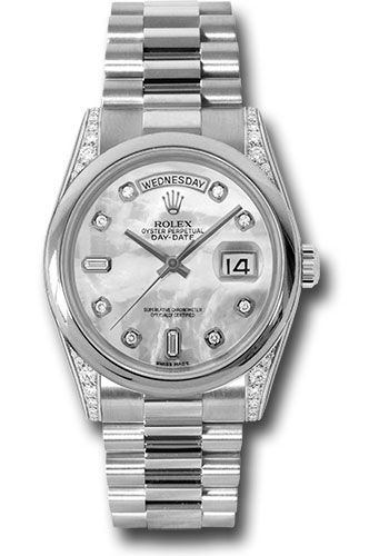 Rolex Watches - Day-Date President Platinum - Domed Bezel - Dia Lugs - President - Style No: 118296 mdp