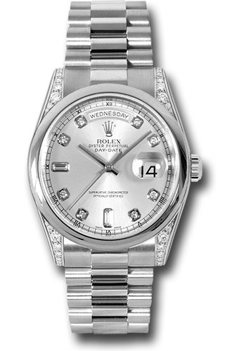 Rolex Watches - Day-Date President Platinum - Domed Bezel - Dia Lugs - President - Style No: 118296 sdp