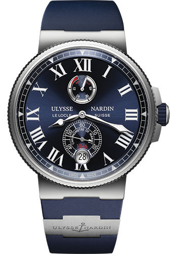 Ulysse Nardin Watches - Marine Chronometer 45mm - Stainless Steel - Rubber Strap - Style No: 1183-122-3/43