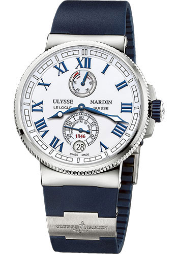 Ulysse Nardin Watches - Marine Chronometer Manufacture 43mm - Steel And Titanium - Rubber Strap - Style No: 1183-126-3/40