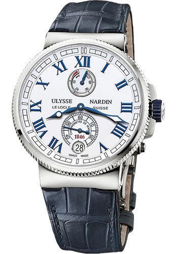 Ulysse Nardin Watches - Marine Chronometer Manufacture 43mm - Steel And Titanium - Leather Strap - Style No: 1183-126/40