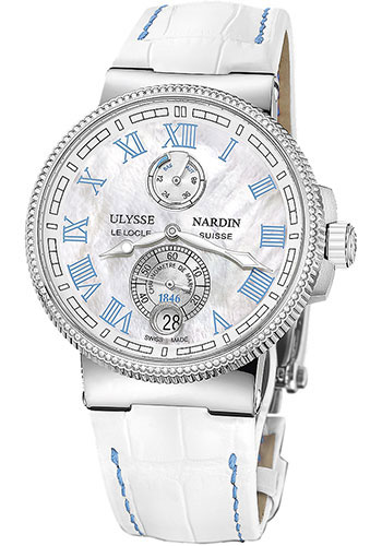 Ulysse Nardin Watches - Marine Chronometer Manufacture 43mm - Stainless Steel - Leather Strap - Style No: 1183-126B/430