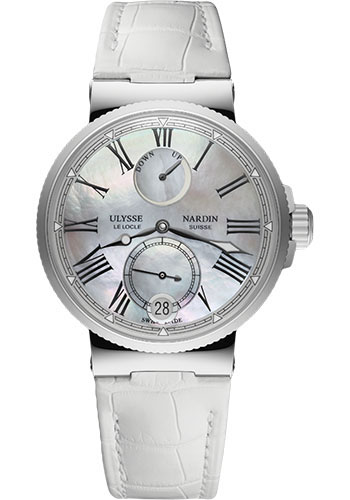 Ulysse Nardin Watches - Marine Chronometer Lady 39mm - Stainless Steel - Leather Strap - Style No: 1183-160/40