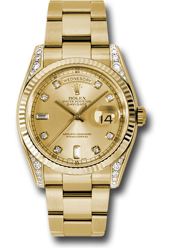 Rolex Watches - Day-Date President Yellow Gold - Fluted Bezel - Dia Lugs - Oyster - Style No: 118338 chdo