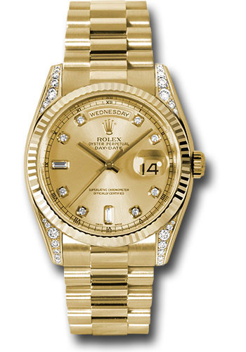 Rolex Watches - Day-Date President Yellow Gold - Fluted Bezel - Dia Lugs - President - Style No: 118338 chdp