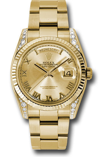 Rolex Watches - Day-Date President Yellow Gold - Fluted Bezel - Dia Lugs - Oyster - Style No: 118338 chro