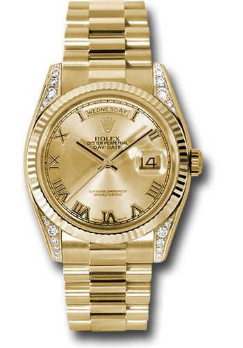 Rolex Watches - Day-Date President Yellow Gold - Fluted Bezel - Dia Lugs - President - Style No: 118338 chrp