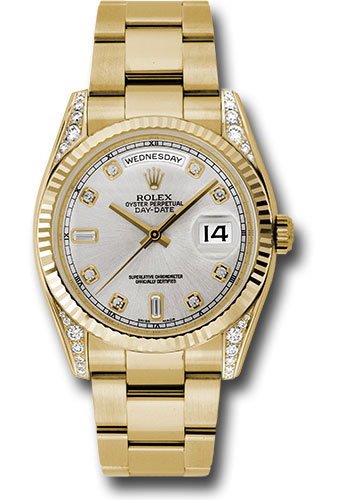 Rolex Watches - Day-Date President Yellow Gold - Fluted Bezel - Dia Lugs - Oyster - Style No: 118338 sdo