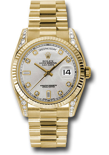 Rolex Watches - Day-Date President Yellow Gold - Fluted Bezel - Dia Lugs - President - Style No: 118338 sdp