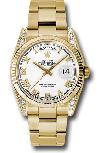 Rolex Watches - Day-Date President Yellow Gold - Fluted Bezel - Dia Lugs - Oyster - Style No: 118338 wro