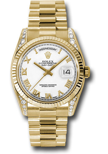 Rolex Watches - Day-Date President Yellow Gold - Fluted Bezel - Dia Lugs - President - Style No: 118338 wrp