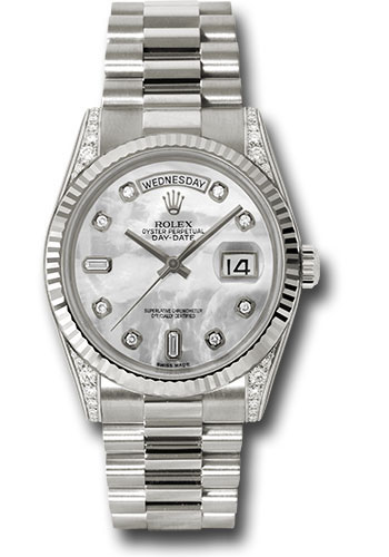 Rolex Watches - Day-Date 36 White Gold - Fluted Bezel - Dia Lugs - President - Style No: 118339 mdp