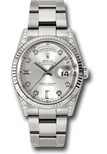 Rolex Watches - Day-Date 36 White Gold - Fluted Bezel - Dia Lugs - Oyster - Style No: 118339 sdo