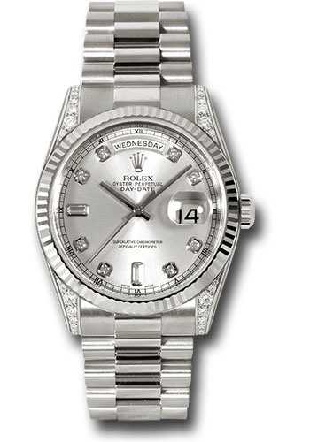 Rolex Watches - Day-Date President White Gold - Fluted Bezel - Dia Lugs - President - Style No: 118339 sdp