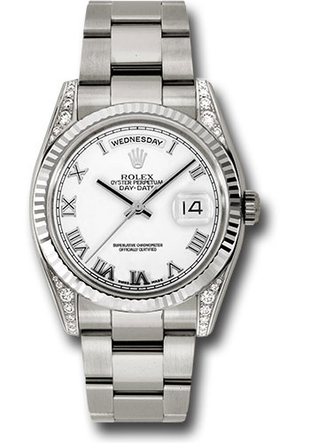 Rolex Watches - Day-Date President White Gold - Fluted Bezel - Dia Lugs - Oyster - Style No: 118339 wro