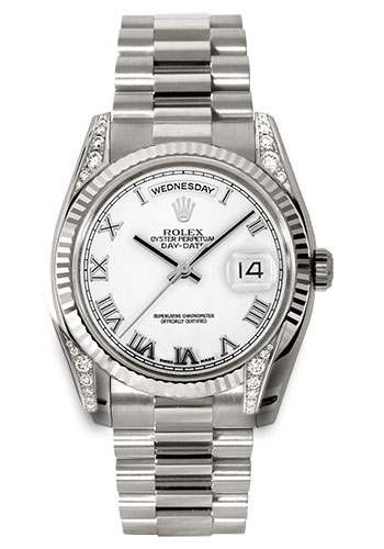 Rolex Watches - Day-Date President White Gold - Fluted Bezel - Dia Lugs - President - Style No: 118339 wrp
