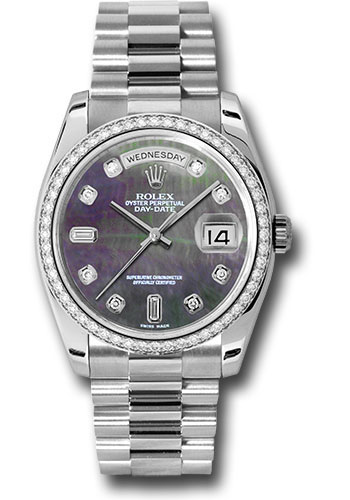 Rolex Watches - Day-Date 36 Platinum - Dia Bezel - President - Style No: 118346 dkmdp