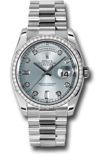 Rolex Watches - Day-Date President Platinum - Dia Bezel - President - Style No: 118346 gladp
