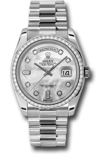 Rolex Watches - Day-Date President Platinum - Dia Bezel - President - Style No: 118346 mdp