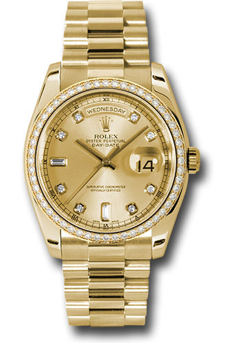 Rolex Watches - Day-Date President Yellow Gold - 52 Dia Bezel - President - Style No: 118348 chd