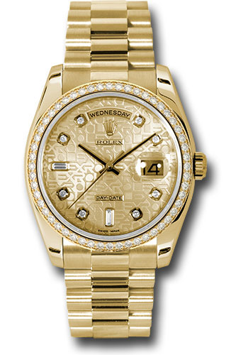 Rolex Watches - Day-Date President Yellow Gold - 52 Dia Bezel - President - Style No: 118348 chjdp