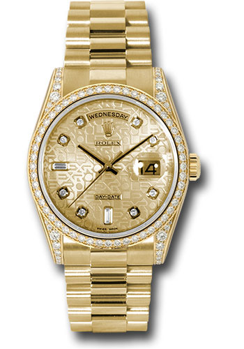 Rolex Watches - Day-Date President Yellow Gold - 52 Dia Bezel - Dia Lugs - President - Style No: 118388 chjdp