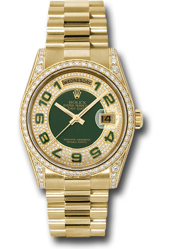 Rolex Watches - Day-Date 36 Yellow Gold - 52 Dia Bezel - Dia Lugs - President - Style No: 118388 pgap