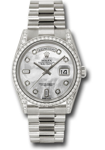 Rolex Watches - Day-Date President White Gold - Dia Bezel - President - Style No: 118389 mdp