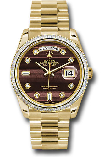 Rolex Watches - Day-Date 36 Yellow Gold - 60 Dia Bezel - President - Style No: 118398 bedp