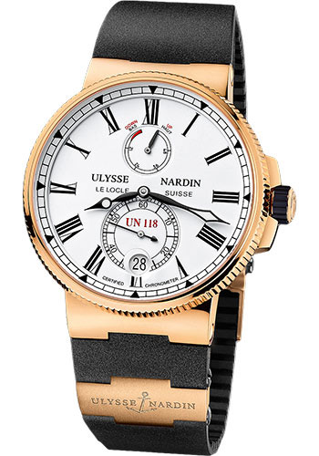 Ulysse Nardin Watches - Marine Chronometer Manufacture 45mm - Rose Gold - Rubber Strap - Style No: 1186-122-3/40